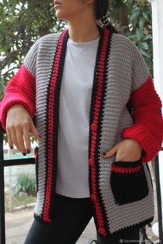 Кардиганы ручной работы. Вязаный кардиган Рокер с карманами. Кардиганы  Вязаные EvAnna. Ярмарка Мастеров. Кардиган вязаный Crochet Baby, Knit Crochet, Knit Fashion, Womens Fashion, Crochet Cardigan, Matching Outfits, Baby Patterns, Knitting Projects, Men Sweater