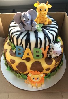 Jungle fever/ safari theme baby shower cake More