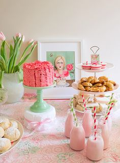 Loving the combination of soft pinks, mint and green with pops of red.