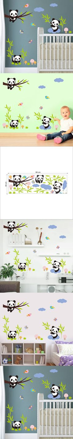 3D cute panda bamboo tree Birds White Cloud vinyl cartoon wall stickers diy for kids room nursery living room home decor pvc $3.59
