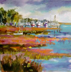 """""""FALL IN BEAUFORT""""  8x8 acrylic worked on board.............this is the marina at waterfront park here in SC on a beautiful fall day......."""