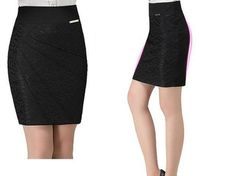 Solid Knee-Length Lace Decorated Formal Pencil Skirt | Stylish Beth