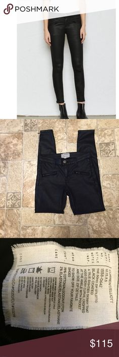 Current Elliot soho zip stiletto black coated NWOT Never worn, NWOT. Zipper at ankles. Awesome jeans and great fit. Stretchy and comfortable. Current/Elliott Jeans Skinny