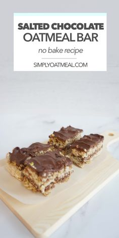This no bake chocolate pretzel oatmeal bar is easy to make and hits all the tasty notes that your looking for. You'll like them so much that you'll keep return back for more because they are irresistible. Chocolate Oatmeal Cookies, Oatmeal Cookie Recipes, Salted Chocolate, No Bake Oatmeal Bars, No Bake Bars, Strawberry Oatmeal Bars, Delicious Desserts, Yummy Food, Easy Baking Recipes