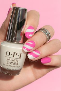pink and white Candy nails with OPI Funny Bunny
