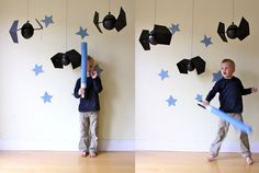 simple DIY Tie Fighters for a Star Wars themed party