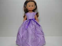 13 inch doll clothes made to fit dolls such as Corolle Les Cheries doll clothes Lavender Sparkle  Dress, 11-1485 by thesewingshed on Etsy