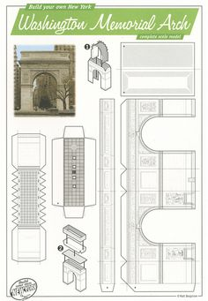 Washington Memorial Arch, New York - Cut Out Postcard by Shook Photos, via… Origami Paper Art, 3d Paper, Paper Crafts, Cardboard Toys, Paper Towns, Paper Houses, Miniature Houses, Paper Models, Miniture Things