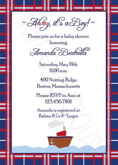 Customize this Nautical TugBoat Boy Baby Shower by invitealicious, $1.85