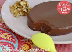 postre chocolate para intolerantes a la lactosa, alérgicos a la proteína de la leche de la vaca, alergia al huevo, cacao, receta fácil, rápida, sencilla, casera, Cocina con Marta