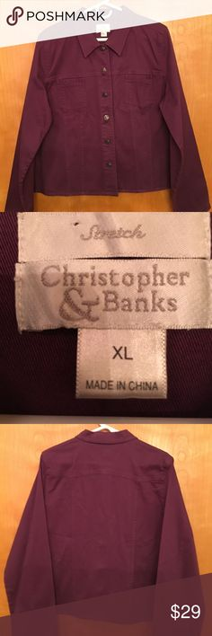 "CHRISTOPHER & BANKS sporty stretch ""jean"" jacket 🌺 PERFECT FOR FALL....plum long sleeved button up stretch ""jean"" jacket with two top pockets.  Details:  Machine wash cold, tumble dry low.  Gently worn, very good condition(free of stains, holes, and flaws) and stored in a smoke free home. Christopher & Banks Jackets & Coats Blazers"