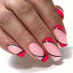 Manicure Nail Designs, Gel Nail Art Designs, Nail Art Designs Videos, Classy Nail Designs, Stylish Nails, Trendy Nails, Emerald Nails, Red Gel Nails, Hair And Nails