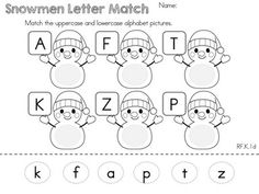 Matching uppercase and lowercase alphabet letters >> Part of the Kindergarten Common Core Aligned Winter Literacy Worksheets