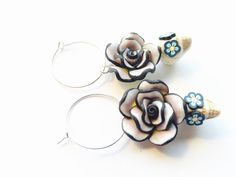 Day of the Dead and Sugar Skull Earrings in Neutral by PennysLane