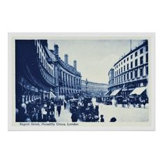 Vintage Cyanotype photo Regent Street, Piccadilly Circus, London, England prints and postcards
