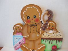 HP Gingerbread ice cream and sprinkles ginger SHELF SITTER hand painted USA