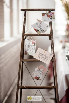 love the idea of hanging post cards / photos on a paint splattered ladder