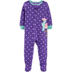 NWT Carters purple /& white penguin fleece sleep n play footed outfit 3 mos