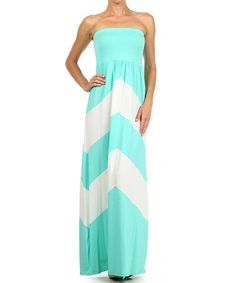 Another great find on #zulily! Mint & White Chevron Strapless Maxi Dress by J-Mode USA Los Angeles #zulilyfinds