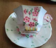 Melba Flower Handle Hand painted Octagonal Pink Flower Tea Cup Saucer Adderley