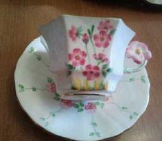 Melba Flower Handle Hand painted Octagonal Pink Flower Tea Cup Saucer Adderley