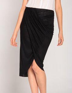 #2020AVE                  #Skirt                    #High-Slit #Draped #Midi #Skirt #Black              High-Slit Draped Midi Skirt in Black                                          http://www.seapai.com/product.aspx?PID=821265
