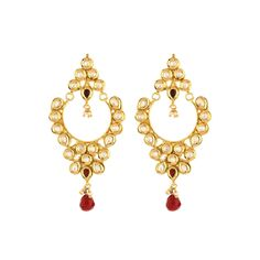 Pure collection red green colour golden ethnic bali earrings for women dilan jewels