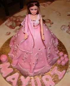 Indian Doll Cake - Vanilla sponge cake.  First time using fondant.  Made for my daughter who turned 6.