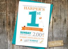 PRINTABLE 1st Birthday Invitation, Garden Party Birthday Invitation, 1st Birthday Party, Polka Dot Party, Blue Turquoise Orange Butterfly,