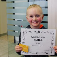 Congrats to Brant for being our Smile of the Month! He's always so brave and we enjoy every visit with him! Way to go Brant! Look at how adorable that smile is 🤗😁 Brave, Dental, Smile, World, Awesome, The World, Teeth, Dentist Clinic, Tooth