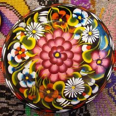 """:D❤️Painted wood bowl from Michoacan, Mexico, 11"""""""