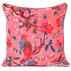 Buy Floral Birds Pattern Velvet Pink Throw Pillow Case Cushion Cover Home Sofa Decorative 16 X 16 Inch by Oussum on Dot & Bo