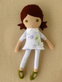Fabric Doll Rag Doll Girl in Lavender Floral Dress. , via Etsy.