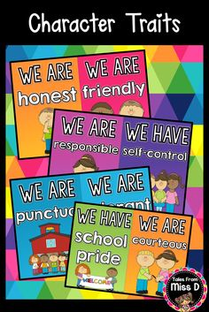 """These Character Traits Posters can be used to promote character development in your classroom. Includes a title poster """"Our Class is Full of Character"""" and a poster for each trait. © Tales From Miss D"""