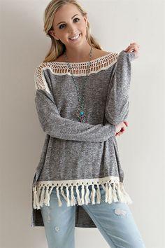 Grey Sweater with Fringe