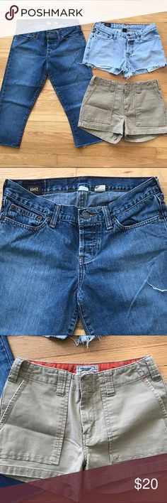 LOT OF THREE Abercrombie & Fitch Capris and Shorts Reasonable offers considered 🛍 Bundle 2 or more items and save! 🎁 Bundle 5 items and I will reimburse the shipping fee 🎉. Lot of great Abercrombie & Fitch Items! Includes: 1) A&F Jean capris size 0L; 2) A&F dark khaki shorts size 0; 3) A&F light Denim tear off jean Shorts Size 0S. Hole on back of Jean Shorts as shown in pics - easy to sew! Preloved and in good condition! Abercrombie & Fitch Shorts Jean Shorts