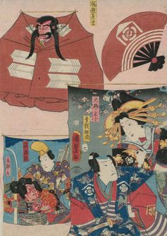 Kites with pictures of famous actors.  Ukiyo-e woodblock print, 1857, Japan, by artist Utagawa Kunisada II.