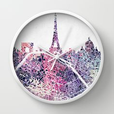 Paris Skyline + Map #1 Wall Clock