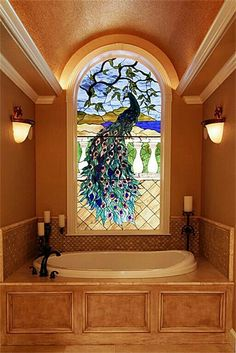 Peacock Stained Glass window design over a garden tub - nice! Stained Glass Art, Stained Glass Windows, Mosaic Glass, Leaded Glass, Glass Door, Peacock Decor, Peacock Art, Beautiful Bathrooms, Art Nouveau