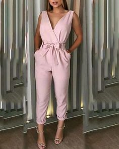 Style:Sexy Pattern Type:Solid Material:Polyester Neckline:V-Neck Sleeve Style:Sleeveless Length:Regular Occasion:Casual Package Note: There might be difference according to manual measurement. Please check the measurement chart carefu. Trend Fashion, Look Fashion, Womens Fashion, Hipster Fashion, 90s Fashion, Latest Fashion, Casual Jumpsuit, Jumpsuit Outfit, Looks Chic