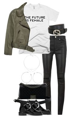 """""""Untitled #3553"""" by theeuropeancloset ❤ liked on Polyvore featuring Yves Saint Laurent, Chanel, Maison Margiela, Acne Studios and Gucci"""