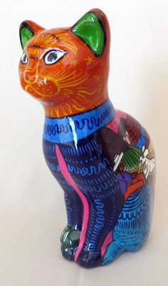 "Vintage Talavera Folk Art Hand Painted Clay Cat Figurine Sculpture 8 5"" Mexico 