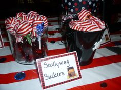 Scallywag suckers at a Pirate party #pirateparty #treats