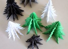 bust-discipline: DIY: Six origami All Things Christmas, Handmade Christmas, Christmas Holidays, Christmas Crafts, Christmas Decorations, Christmas Ornaments, Origami Xmas Tree, Diy Paper, Paper Crafts