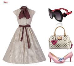 50s Audrey hepburn pinup polka dots cute outfit   ReoRia