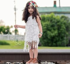 Boho Fringe White Lace Dress