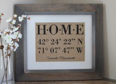 Latitude Longitude HOME Burlap Print  by EmmaAndTheBean on Etsy