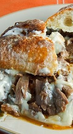 Pot Roast Sandwich with Gravy and Swiss Cheese