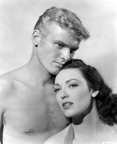 Tab Hunter & Linda Darnell in a publicity shot for Saturday Island It was Tab's first film role. Hooray For Hollywood, Golden Age Of Hollywood, Vintage Hollywood, Hollywood Stars, Classic Hollywood, Movie Couples, Cute Gay Couples, Hunter Movie, Tab Hunter