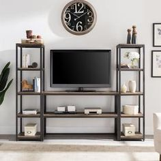 Southern Enterprises Nettier Reclaimed Wood Media Center, Set, Industrial Style, Rustic Black w/ Distressed Fir Image 1 of 1 Industrial Design Furniture, Industrial Style, Furniture Design, Vintage Industrial, Wood Entertainment Center, Home Entertainment, Iron Furniture, Steel Furniture, Armoire Tv